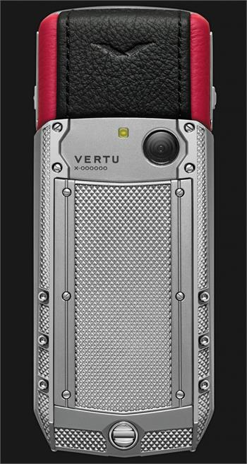 Vertu Acsent new Knurled titanium, black and red leather